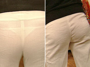 Pants with thong before (left) and after (right)