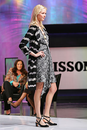 Knit trench and flame-stitch dress by Missoni