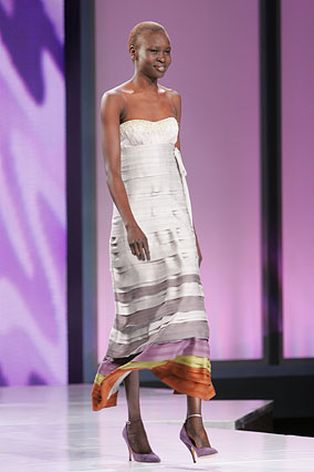 Ribbon-tiered evening gown by Missoni