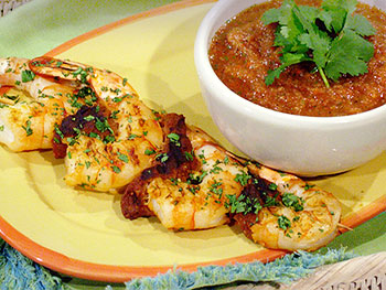 Rachael's Grilled Shrimp and Chorizo Skewers with Gazpacho