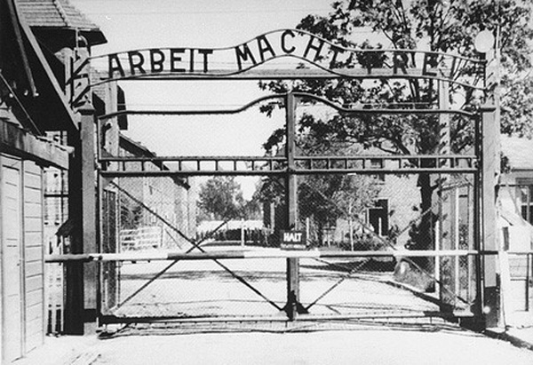 The gate at Auschwitz, photograph courtesy of the United States Holocaust Memorial Museum