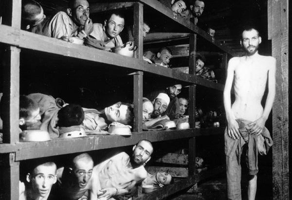 Elie Wiesel in the barracks of Birkenau