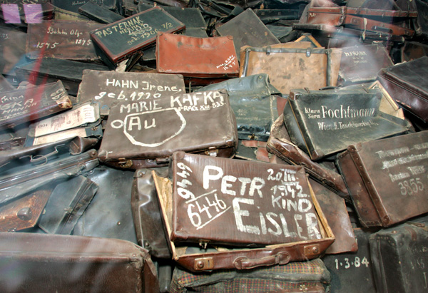 Jewish prisoners' abandoned suitcases at Auschwitz