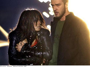 Janet and Justin Timberlake perform at the Super Bowl