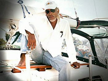 Morgan Freeman on his sailboat