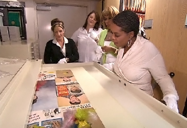 Oprah, Lisa Marie, Gayle and Angie in a secret Elvis library