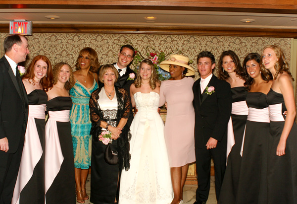 Gayle and Oprah with the wedding party