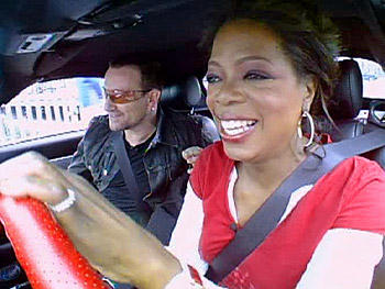 Oprah and Bono leave for their shopping trip