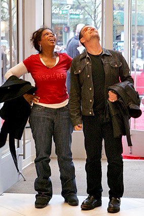 Oprah and Bono arrive at the Gap.