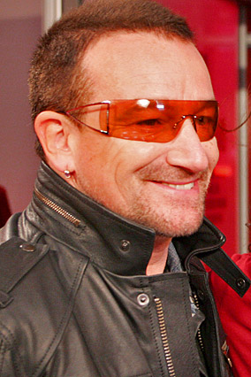Bono wears Armani's RED sunglasses