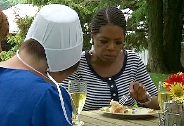Sharing a meal in an Amish home