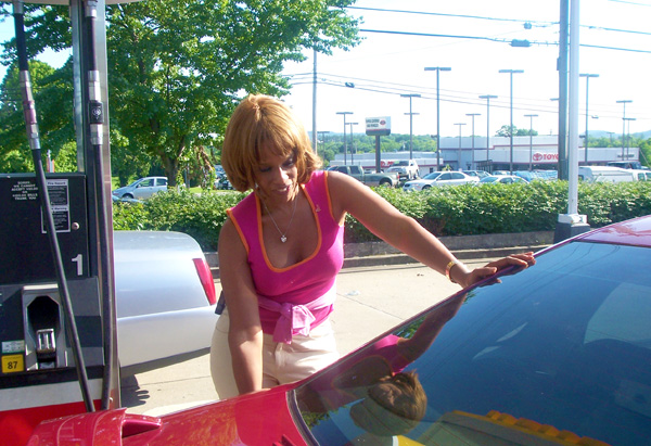 Gayle gasses up the Chevy Impala