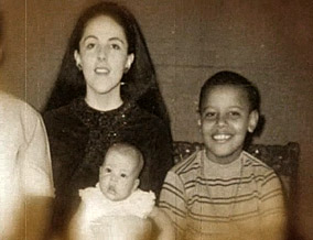 Barack as a child with his mother