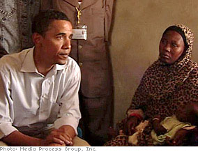 Barack Obama at a Sudanese refugee camp