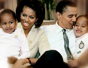 Barack, Michelle and their two daughters