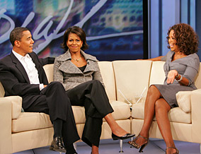 Barack, Michelle and Oprah