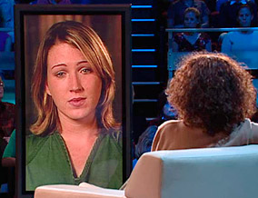 Oprah talks to Jessica Coleman via satellite.