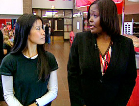 Lisa Ling and Denise Lilly at Monroe High School