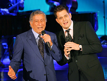 Michael Bublé and Tony Bennett singing 'Just in Time.'