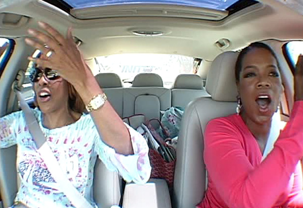 Oprah and Gayle sing 'Oklahoma.'