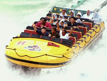 The Peete family and friends on a water ride at Universal Studios