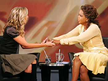 Spanx creator Sara Blakely gives Oprah a surprise.