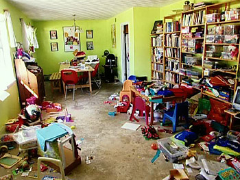 The Gavitts' cluttered family room