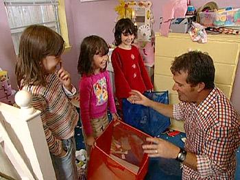 Miranda, Katharine and Audrey help Peter clean the playroom.