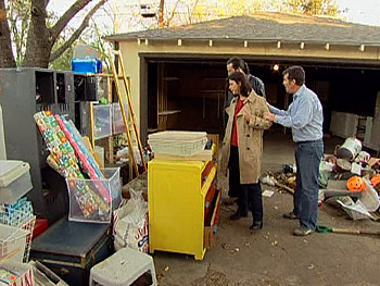 Janet and Charlton decide what to keep in their garage.