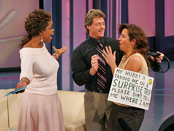 Gina is surprised on 'The Oprah Show.'