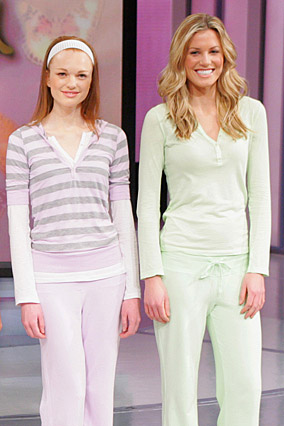 Lavender pullover with matching sweatpants and a mint green jersey top with matching pants