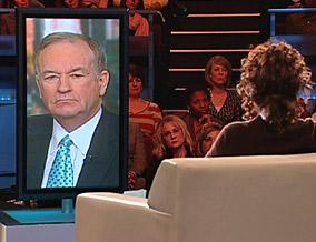 Oprah speaks with Bill O'Reilly via satellite.