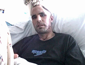 Bob Woodruff after his emergency brain surgery