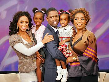 Malaak, Lola, Chris, and Zahra Rock pose with Oprah.