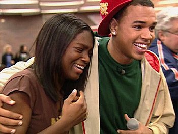 Chris Brown surprises Jamese at her school cafeteria.