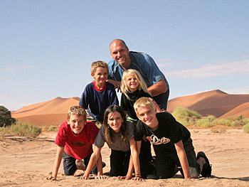 Tom, Kieran, Asher, McKane, Anne and Dax Andrus in Namibia, Africa.