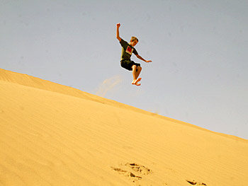 Dax jumps a sand dune in Namibia.