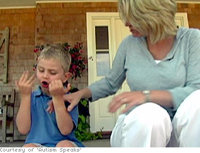 Autistic child exhibiting stimming