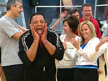 Oprah's makeup artist, Reggie Wells, in laughing yoga class.