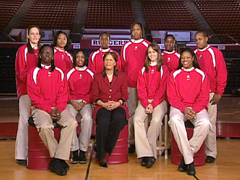 The Rutgers women's basketball team and their coach