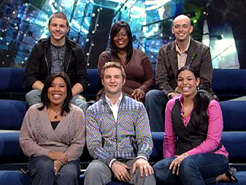 The six 'American Idol' finalists. Top row: Chris Richardson, LaKisha Jones, Phil Stacey. Bottom row: Melinda Doolittle, Blake Lewis, Jordin Sparks.