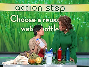 Simran shows Oprah some high-quality water bottles.