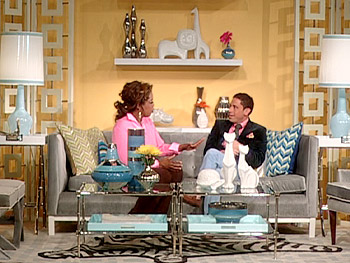 Oprah and Jonathan Adler sit among some of his design creations.