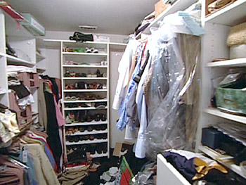 In the cluttered closet