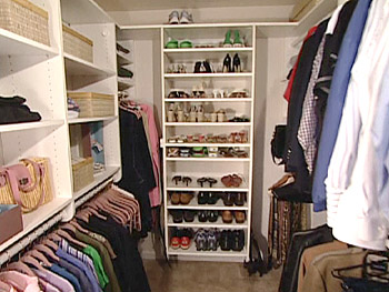 Peter Walsh declutters a closet.