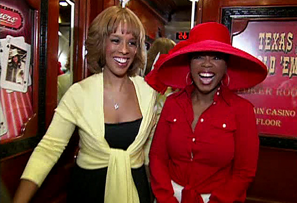 Oprah and Gayle dressed for the impersonators' convention