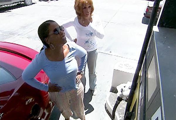 Oprah pumps gas.