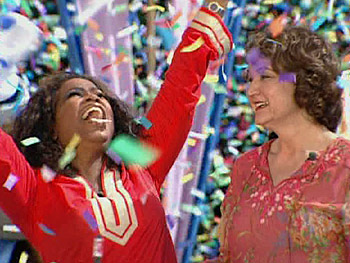 Oprah gives Debbe a big 'Cheers to you!'