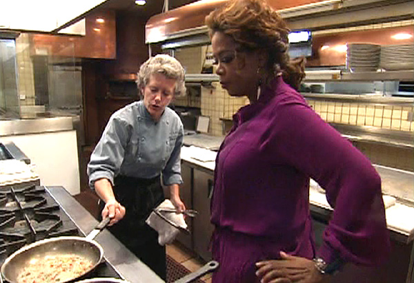 Oprah gets a cooking lesson from Miraval's acclaimed chef, Mary Nearn.