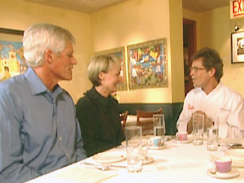 Chef Rick Bayless meets with Adrianne and Scott.